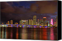 Claudia Domenig Canvas Prints - Downtown Miami at Night Canvas Print by Claudia Domenig