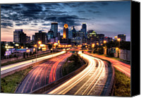 Road Travel Canvas Prints - Downtown Minneapolis Skyscrapers Canvas Print by Greg Benz