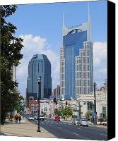 Nashville Skyline Canvas Prints - Downtown Nashville Canvas Print by Garland Johnson