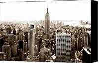 Empire Photo Canvas Prints - Downtown New York City Canvas Print by John Rizzuto