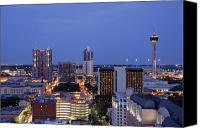 San Antonio Canvas Prints - Downtown San Antonio at Night Canvas Print by Jeremy Woodhouse