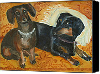 Susan Hanlon Canvas Prints - Doxie Duo Canvas Print by Susan Hanlon