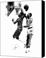 All-star Painting Canvas Prints - Dr. J and Kareem Canvas Print by Ferrel Cordle