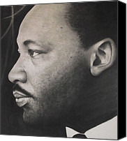 Charcoal Drawings Canvas Prints - Dr. Martin Canvas Print by Adrian Pickett
