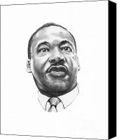 Famous Drawings Canvas Prints - Dr. Martin Luther King Canvas Print by Murphy Elliott