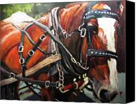 Horse Painting Canvas Prints - Draft Horse Canvas Print by Brian Simons