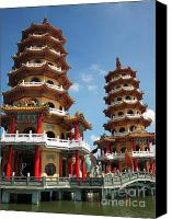 Octagonal Canvas Prints - Dragon and Tiger Pagodas in Taiwan Canvas Print by Yali Shi
