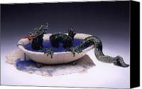 Greeting Cards Ceramics Canvas Prints - Dragon bath Canvas Print by Doris Lindsey