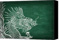 Tattoo Canvas Prints - Dragon On Chalkboard Canvas Print by Setsiri Silapasuwanchai
