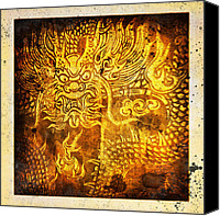 Burnt Canvas Prints - Dragon painting on old paper Canvas Print by Setsiri Silapasuwanchai