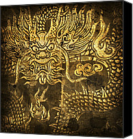 Burnt Canvas Prints - Dragon Pattern Canvas Print by Setsiri Silapasuwanchai