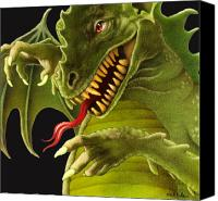 Monster Painting Canvas Prints - Dragon to knight... Canvas Print by Will Bullas