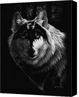 White Drawings Canvas Prints - Dragon Wolf Canvas Print by Stanley Morrison