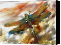 Still Life Tapestries Textiles Canvas Prints - Dragonfly Canvas Print by Bob Salo