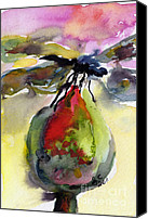 Insects Painting Canvas Prints - Dragonfly on Flower Bud Watercolor Canvas Print by Ginette Fine Art LLC Ginette Callaway