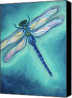 Insects Painting Canvas Prints - Dragonfly Canvas Print by Sabina Espinet