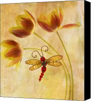 Dragonfly Canvas Prints - Dragonfly Tulips Canvas Print by Rebecca Cozart