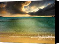 Storm Photo Canvas Prints - Drama At The Beach Canvas Print by Meirion Matthias