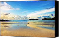 Morning Sun Canvas Prints - Dramatic Scene Of Sunset On The Beach Canvas Print by Setsiri Silapasuwanchai