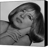 Celebrities Drawings Canvas Prints - Drawing of Barbra Streisand SUPER HIGH RES  Canvas Print by Mark Montana