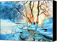 Snowy Landscape Painting Canvas Prints - Drawn To The Sun Canvas Print by Hanne Lore Koehler