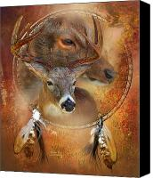 Scene Mixed Media Canvas Prints - Dream Catcher - Autumn Deer Canvas Print by Carol Cavalaris