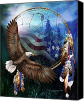 Flag Mixed Media Canvas Prints - Dream Catcher - Freedoms Flight Canvas Print by Carol Cavalaris