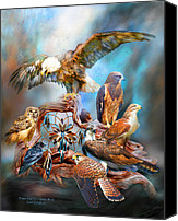 Hawk Spirit Art Canvas Prints - Dream Catcher - Spirit Birds Canvas Print by Carol Cavalaris