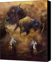 Buffalo Mixed Media Canvas Prints - Dream Catcher - Spirit Of The Brown Buffalo Canvas Print by Carol Cavalaris