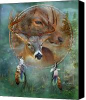 Animal Art Print Mixed Media Canvas Prints - Dream Catcher - Spirit Of The Deer Canvas Print by Carol Cavalaris