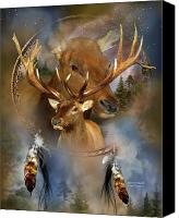 Animal Art Print Mixed Media Canvas Prints - Dream Catcher - Spirit Of The Elk Canvas Print by Carol Cavalaris