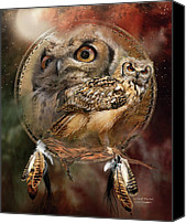 Animal Art Print Mixed Media Canvas Prints - Dream Catcher - Spirit Of The Owl Canvas Print by Carol Cavalaris