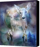 Scene Mixed Media Canvas Prints - Dream Catcher - Spirit Of The White Deer Canvas Print by Carol Cavalaris
