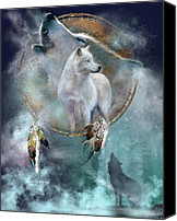 Animal Art Print Mixed Media Canvas Prints - Dream Catcher - Spirit Of The White Wolf Canvas Print by Carol Cavalaris
