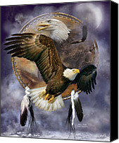 Animal Art Print Mixed Media Canvas Prints - Dream Catcher - Spirit Eagle Canvas Print by Carol Cavalaris