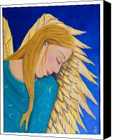Angel Blues  Painting Canvas Prints - Dreaming Angel Canvas Print by Jacqueline Lovesey