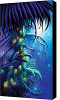 Halloween Painting Canvas Prints - Dreaming Tree Canvas Print by Philip Straub