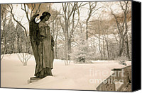 Angel Photographs Photo Canvas Prints - Dreamy Angel Monument Surreal Sepia Nature Canvas Print by Kathy Fornal