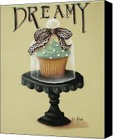 Cake-stand Canvas Prints - Dreamy Cupcake Canvas Print by Catherine Holman