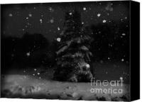 Snowy Night Canvas Prints - Dreamy Snowing Canvas Print by Lj Lambert
