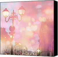 Lights Framed Prints Canvas Prints - Dreamy Surreal Paris Night Street Lamps  Canvas Print by Kathy Fornal