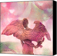Angel Photographs Photo Canvas Prints - Dreamy Whimsical Pink Angel Wings With Hearts Canvas Print by Kathy Fornal