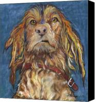 Pet Portrait Pastels Canvas Prints - Drenched  Canvas Print by Pat Saunders-White