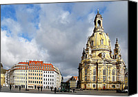 Frauenkirche Canvas Prints - Dresden Church of Our Lady and New Market Canvas Print by Christine Till