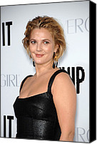 Gold Earrings Photo Canvas Prints - Drew Barrymore Wearing Neil Lane Canvas Print by Everett