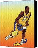 Los Angeles Lakers Canvas Prints - Dribbling the world Canvas Print by Paul  Arm