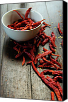 Food And Drink Canvas Prints - Dried Chilies In White Bowl Canvas Print by Lina Aidukaite