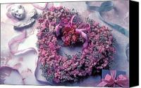 Hearts Photo Canvas Prints - Dried flower heart wreath Canvas Print by Garry Gay
