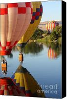 Hot Air Balloons Canvas Prints - Drifting Along on the Yakima River Canvas Print by Carol Groenen