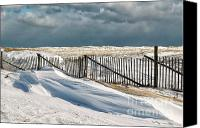 Nauset Beach Canvas Prints - Drifting snow along the beach fences at Nauset Beach in Orleans  Canvas Print by Matt Suess